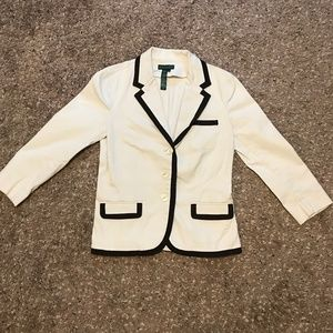 Lauren Jeans Cream Blazer With Brown Trim Size